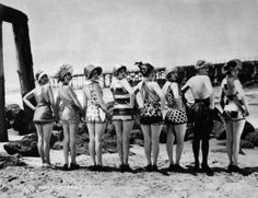 Vintage swimwear Sennett Bathing Beauties, 1915  (women looked normal back then..their legs don't look like they're going to break off...)