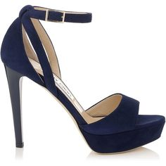 Jimmy Choo KAYDEN Navy Suede Platform Sandals (64.725 RUB) ❤ liked on Polyvore featuring shoes, sandals, heels, jimmy choo, navy, high heel shoes, heeled sandals, navy sandals, suede shoes e platform heel sandals