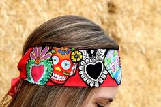 Day of the Dead on Red Background Bandana Headband on Etsy, $19.99