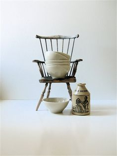 tiny chair or huge bowls? Love that milk jug.