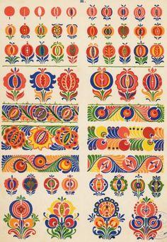 "Slovak folk pattern from the book ""Slovenska ornamentika"" (Slovenská ornamentika… Hungarian Embroidery, Folk Embroidery, Embroidery Patterns, Folk Art Flowers, Flower Art, Polish Folk Art, Posca Art, Scandinavian Folk Art, Scandinavian Embroidery"