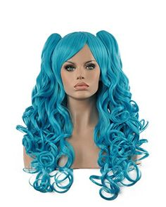 Diy-Wig High Quality Light Blue Long Curly Two Clips Pony…