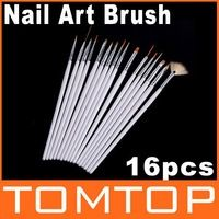 16 unids/set blanco Nail Art Nail Brush Pen pintura que salpican Brush Set el envío gratuito venta