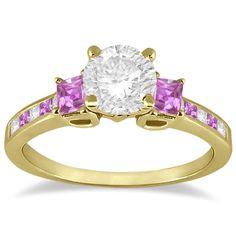Princess Cut Diamond & Pink Sapphire Engagement Ring 18k Y Gold (0.68ct)-Allurez.com