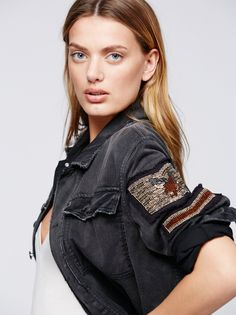 Embellished Military Shirt Jacket at Free People Clothing Boutique