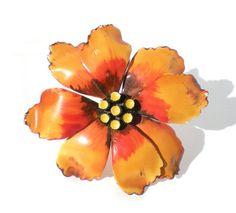 Large Autumn Enamel Flower Brooch with Burnt Orange by RibbonsEdge, $9.99
