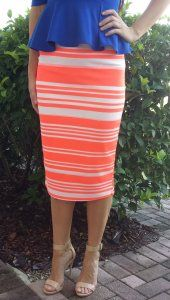 Pencil Skirt - Orange Stripe - $20 at DCM Apparel