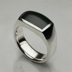 Tasty-ness! Oxford Ring in Sterling Silver & Hand Cut Onyx - Mens and Womens Rings - Designer Jewellery by Stephen Einhorn London