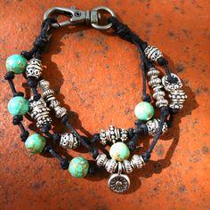 Knotted bead bracelet
