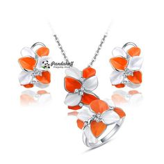 Real  Plated Tin Alloy Crezh Rhinestone Flower Necklaces & Earrings & Rings Jewelry Sets, with Lobster Claw Clasps,