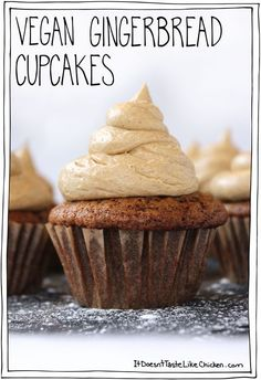 Vegan Gingerbread Cupcakes! These cupcakes are my new favourites. Rich, moist and chewy cake, making that perfect gingerbread texture. All topped with a salted caramel gingerbread frosting. #itdoesnttastelikechicken
