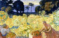 Woman And Children In A Yellow Landscape - Pierre Bonnard