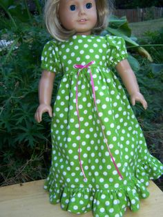 American Girl Doll Clothes  Green Polka by KingsLittleBlessings, $10.00