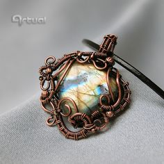 Wire wrapped Labradorite pendant wire wrap jewelry gemstone jewelry copper jewelry girlfriend gift gift ideas wire necklace womens (76.00 USD) by Artual