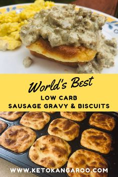World's Best Low Carb Sausage Gravy & Biscuits — Keto Kangaroo #Keto #LowCarb #LowCarbRecipes #lowcarbdiet #breakfast