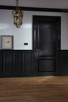 black doors interior before and after . black doors and trim . Black Trim Interior, Dark Doors, Trim On Doors, Black Hallway, Painted Interior Doors, Black Wainscoting, Spanish House, Home Upgrades, Wood Interiors