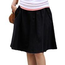 Black New Womens A-line Retro High Waist Pleated Short Mini Dress With Pocket Skirt