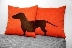 Dachshund cushion covers - tangerine and dark brown