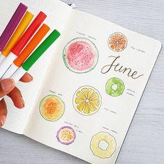 539 vind-ik-leuks, 29 reacties - joos | bullet journal newbie (@bu.joos) op Instagram: 'J U N E // front page Hello June! June really makes me thing of all the tropical fruits I love. I…'