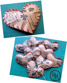 Stuffed paper hearts. I think I'll use re-purposed book pages