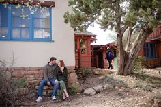 Grand Canyon Engagement Couple at Bright Angel Cabins