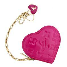 Louis Vuitton Auth M93657 Bag Charm Heart Verni Rose Pop Pink NOS Mint #0546 #LouisVuitton
