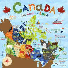Oopsy Daisy - Canvas Wall Art Canada - The Land We Love By Lesley Grainger, Size: 10 x Multi-color Travel Maps, Travel Posters, Rocky Mountains, Islands In The Pacific, Canada 150, Thinking Day, Vancouver Island, Art Wall Kids, Canada Travel