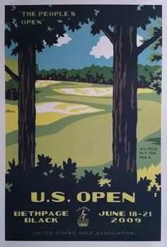 Original+poster+US+Open+Golf+USGA+Bethpage+Black+June+18-21+2009+-+Lee+Wybranski