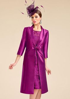 2016+Formal+Illusion+Knee+Length+Fuchsia+Lace+Sheath+Column+Mother+Of+The+Bride+Dress+With+Jacket+B2cp0009