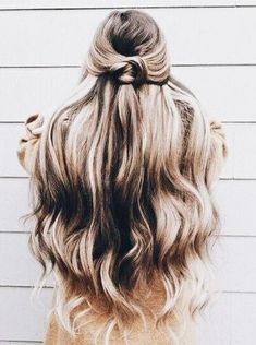 perfect half up half down hair inspo- keep your curls smelling fresh with Hairscentz hair deodorizer!