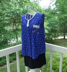 Sale Amy Top-Upcycled Blue Sleeveless Swing Top by SunRaeStyle