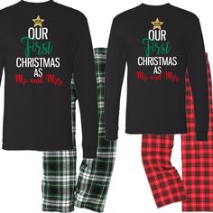 our first christmas couples pajama set mr and mrs pajama set christmas