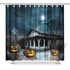 Halloween Graveyard Pumpkin Zombie Shower Curtain Set Bathroom Fabric w// Hooks