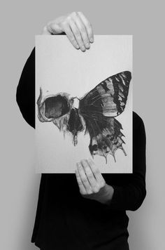 skull butterfly drawing