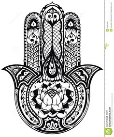 Illustration of Vector Indian hand drawn hamsa symbol vector art, clipart and stock vectors. Mandala Art, Mandalas Painting, Lotus Mandala, Mandalas Drawing, Hamsa Tattoo, Tattoo Hand, Indiana, Hamsa Symbol, Hamsa Art