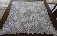 Vintage Φιλέτο πλέκω Lace Τραπεζομάντηλο Grapes Φύλλα & Scrolls White Cotton…