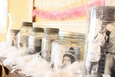 Love the photos in the jars -- this was on a valentine mantel but I think it's good for anytime...