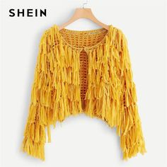 Shop Hook and Eye Closure Layered Fringe Cardigan online. SHEIN offers Hook and Eye Closure Layered Fringe Cardigan & more to fit your fashionable needs. Gilet Crochet, Crochet Cardigan, Crochet Top, Cardigans For Women, Women's Cardigans, Fringe Cardigan, Sweater Cardigan, Bikinis Crochet, Women's Fashion Dresses