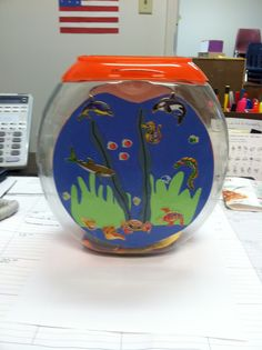 Fish Bowl made from Tide Pods container.