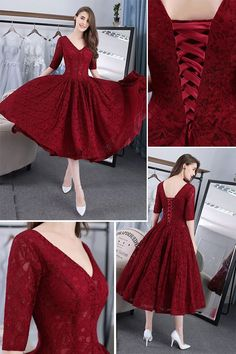 Vintage Half Sleeve V Neck Lace Up Back Lace Knee Length Prom Dress · cutedressy · Online Store Powered by Storenvy Lace Back Dresses, Half Sleeve Dresses, Dress Backs, Half Sleeves, Knee Length Dresses, V Neck Dress, Trendy Dresses, Cute Dresses, Beautiful Dresses