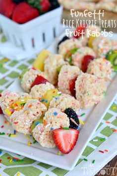 Funfetti Rice Krispies Treats Fruit Kabobs | MomOnTimeout.com #easytomake