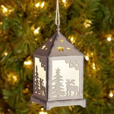 LED Lantern Ornament - Brown