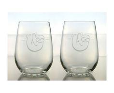 Pereza de vino de cristal de personalización 2 / libre grabado al agua fuerte el vidrio de vino sin pie / / grabado de vidrio de vino /