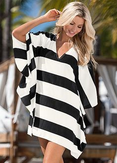 d771b060f3 %PC% Bold stripe tunic from VENUS Bathing Suit Cover Up