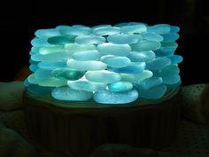 海辺の輝き シーグラスのランプシェード