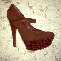 dark brown Mary Jane platform heels Brown platform Mary Jane patent leather heel, snake like pattern on platform . JustFab Shoes Heels