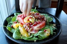 Citrus Spinach Salad with Pomegranates and Walnuts
