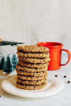 Crunchy and chewy, these almond butter espresso cookies are made with one bowl and only six ingredients. Gluten-free and vegan!