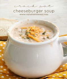 Crock Pot Cheeseburger Soup shared at katherines corner