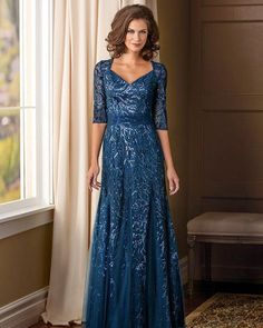 24 Stylish Mother Of The Bride Dresses ❤ mother of the bride dresses v neck with three quote sleeeves sequins navy jade couture #weddingforward #wedding #bride
